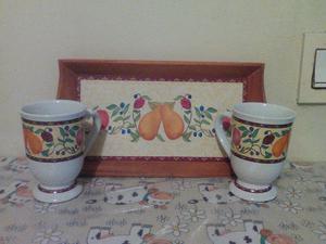 Frutas decorativas con mesas y bandeja posot class - Bandeja de madera ...
