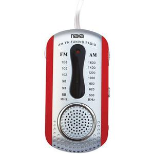Naxa Nr721 Am / Fm Mini Pocket Radio Con Altavoz, Rojo
