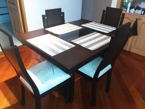 Comedor en madera wengue de muebles y posot class for Comedor 4 puestos vidrio