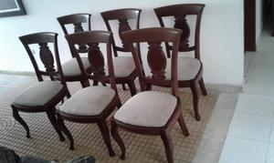 Sillas de comedor de madera de cedro en crudo posot class for Comedor 6 sillas usado