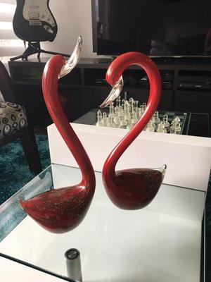 Decoración Cisnes Rojos