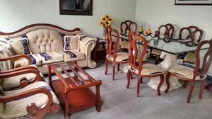 Juego sala en madera flor morado posot class for Juego de sala y comedor