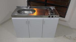 Cubierta acero p cocina con lavaplatos y estufa posot class for Mueble para estufa