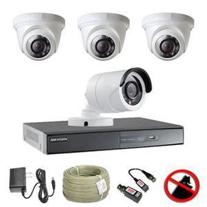 Kit CCTV Turbo HD con DVR Hikvision de 4 canales y 4