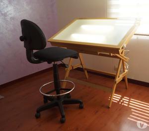 Mesa de dibujo iluminada con 2 tubos posot class - Mesa de arquitecto ...