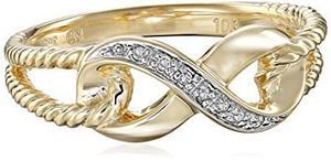 10k Oro Amarillo Anillo De Diamante Infinity