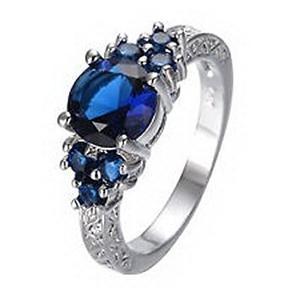 Anillo De Zafiro Azul Jacob Alex Zircon Ladys Boda Promise