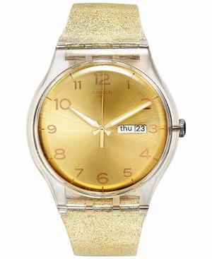 Reloj Swatch Suok704 Silicone Dorado Escarchado Mujer