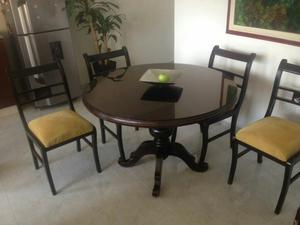 Comedor cuatro puestos en madera color wengue posot class for Comedor 4 puestos madera