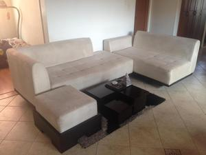 Muebles para sala estilo en l color beige posot class for Muebles beige