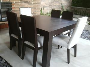 Comedor en madera wengue de muebles y posot class for Comedor cuadrado 6 sillas
