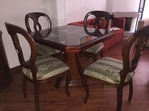 Juego comedor mas 4 sillas posot class for Comedor 4 puestos madera