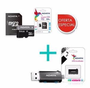 Memoria Micro Sd 64 Gb Clase 10 + Otg Adata Celulares Tablet