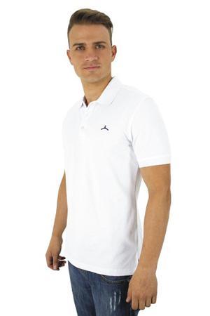 Camiseta Polo Hanger Algoodon Tres Botones Blanco