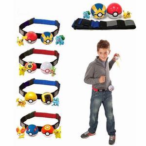 Cinturon pokemon con 2 pokebolas y dos figuras