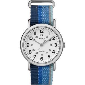 Reloj Timex Weekender, Dril De Algodón Rayas Azul