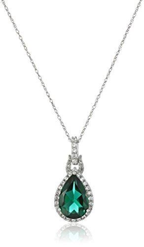 10k Oro Blanco Diamante Acento Creado Esmeralda Y !