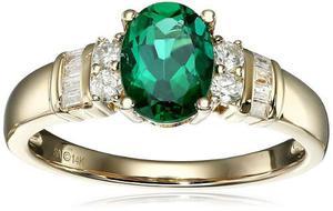 14 K Oro Amarillo Creado Esmeralda Y Diamante (1 / !