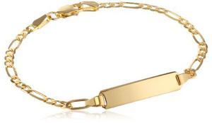 14 K Oro Amarillo Figaro Pulsera De Identificación !