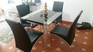 Comedor 4 puestos moderno madera vidrio posot class for Comedor 4 puestos vidrio