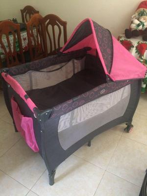 Bebés Priori Corral Cuna Con Sistema Mecedor Negro Y Rosa