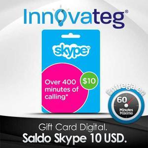 Saldo Skype 10 Usd, Tarjeta, Entrega En Minutos!