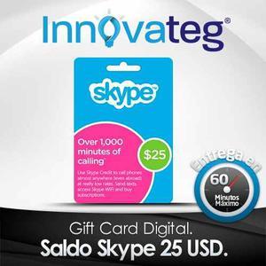 Saldo Skype 25 Usd, Tarjeta, Entrega En Minutos!