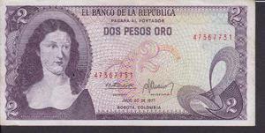 Billete De Colombia Dos (2) Pesos Oro - 20 Julio