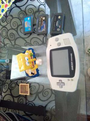 Game Boy Advance Con Linternaed Y 3 Juegos Originales.