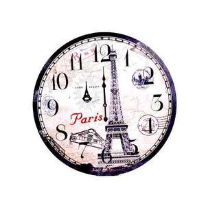 Reloj De Pared Vintage Decorativo 60 Cm Torre Eifel