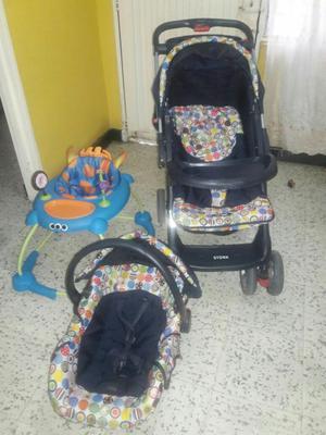 Coche con Silla Porta Bebe Y Caminador