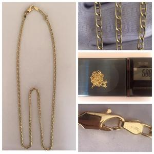 Cadena de oro italiano tejido escalera unisex