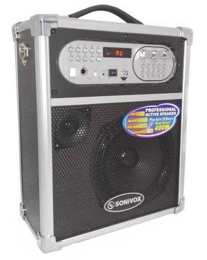 Super Cabina Sonivox Portatil 400 Watt Bluetooh Fm Microfono