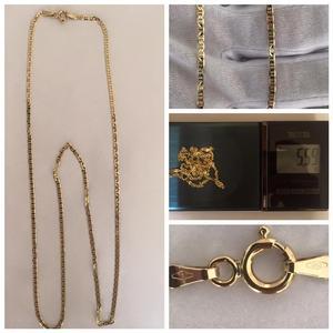 Cadena de oro italiano unisex, 60 cm de largo
