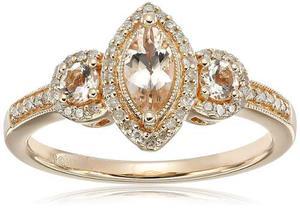 14 K Rosa Morganita De Oro Y Anillo De Diamante !