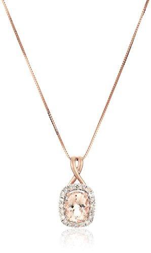 14k De Oro Rosa Morganita Y Diamante (1 / 4cttw, !