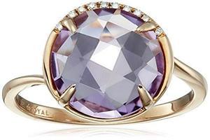 14k De Oro Rosa Y Amatista Anillo De Diamante !
