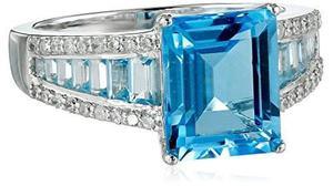 14k Oro Blanco Topacio Azul Suizo Y Diamante (1 / !