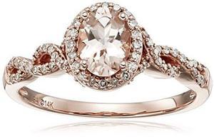 14k Oro Rosa Morganita Y Anillo De Diamante Oval !