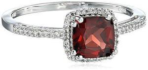 Oro Blanco 10k Y Diamante Granate-acentuada !