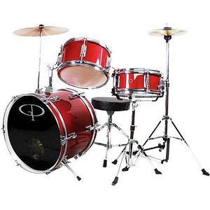 Gp Percusión Tambor Junior Completo De 3 Piezas Set, Rojo