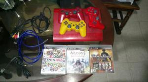 Ps3 con 3 Controles Y 3 Juegos Originale