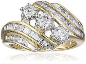 10k Oro Amarillo Aniversario Del Diamante Del !
