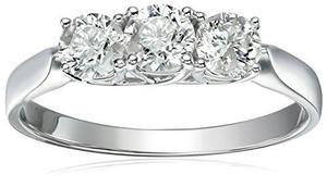 14k 3-piedra Anillo De Compromiso De Diamantes (1 !