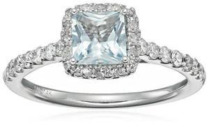 14k Oro Blanco De Diamantes Y Aguamarina (1 / !