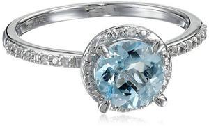 Aquamarine Ronda De Oro Blanco 10k Y Diamante !