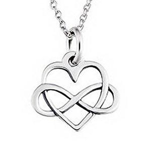 Jacob Alex # Sterling Silver Open Infinity Heart Necklace E