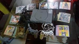 Play 1 con 2 Controles,juegos, Memoria, Cable Al Tv,cable de