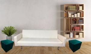 Combo Sofacama Venecia + Puff Mueble Hogar Sala Decoración