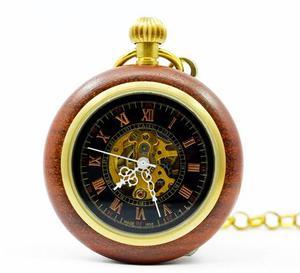 Reloj De Bolsillo Mecánico, De Cuerda, De Madera Clásico
